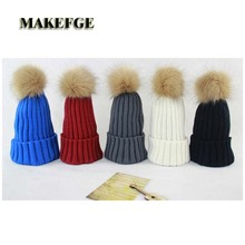 New fur ball cap winter hat for women wool knitted hat pom poms Brand New High-Quality women winter mink The Ball ski rabbit