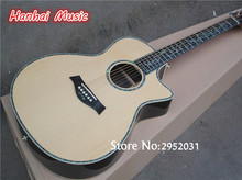 Hot Sale Custom 41 Inch Folk Acoustic Guitar,Natural wood Color,Soild Top,Abalone Binding,Flower Abalone Fret Marks Inlay,(China)