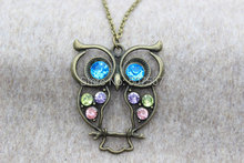 20pcs /lot Sell owl necklace with blue eyes , gift idea,Personalized Gift,Unique gift(China)
