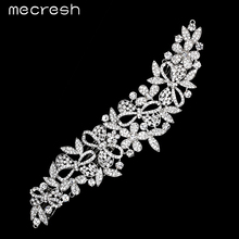 Mecresh Elegant Long Leaf Shape Crystal Bridal Hair Combs Silver Color Cute Bowknot Wedding Hair Accessories Jewelry MFS153
