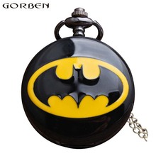 Batman Necklace Pocket Watch Men Women Steampunk Chain Pocket Watches Vintage Roman Numerals Quartz Fob Watch Black Pocket Clock