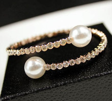 NEW!!  Fashion Classic Brand Simulated Pearl Bangles Gold Color Crystal Charm Bracelets&Bangles Jewelry Women