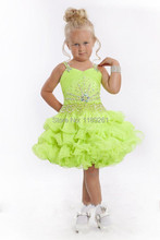 Custom Made  Flower Girl Dresses  Sparkling Beaded Short Organza Pageant Dress Any Color Cheap Price Fast Delivery DE00990