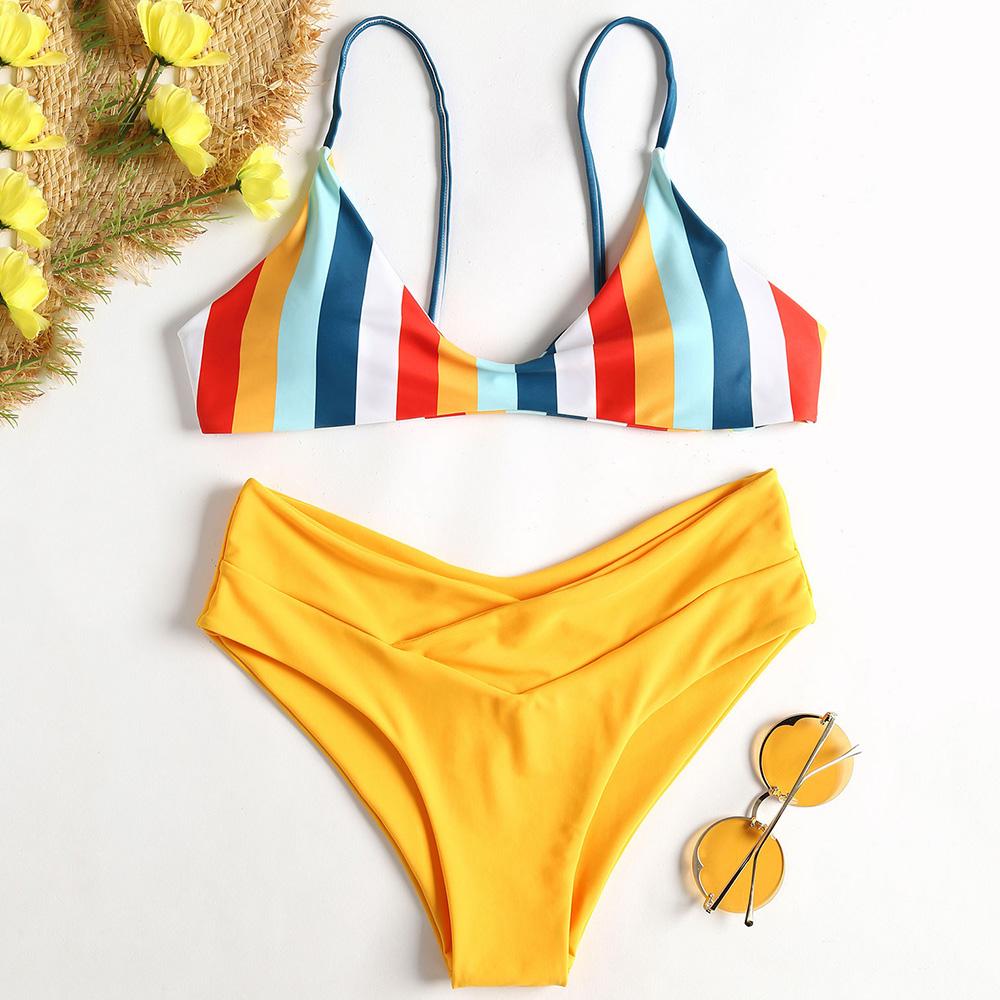 19 Striped High Cut Bikini Set Colorful Lovely Girl Swimwear Women Swimsuit Bandage Backless Bathing Suit Maillot De Bain 5
