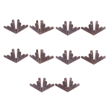 10pcs Wooden Case Edge Cover Trunk Corner Protector Decor Antique Bronze Tone For Desks Tables Drawers Dressers Jewelry boxes