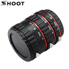 SHOOT Red Metal Auto Focus Macro Extension Tube Set for Canon SLR Cameras CANON EF EF-S Lens 700d t5i 7d 5d for Canon Accessory
