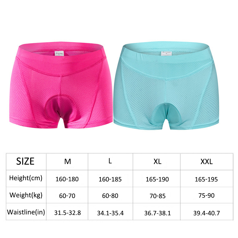 Quick Dry Absorbent Underwear 3D Sponge Gel For Women Ladies Men Anti-slip Bike Bicycle Pants Size M Padded 3D Cycling Underwear Shorts With Insert