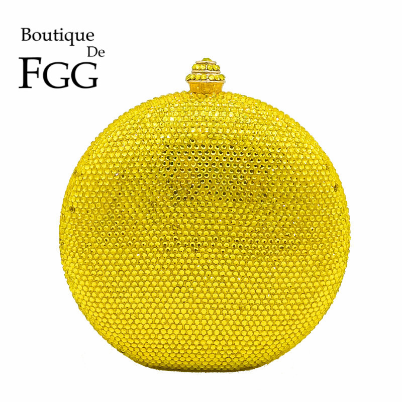 Round Wine Pot Yellow Crystal Clutch Evening Bag Mini Metal Minaudiere Clutches Wedding Party Bridal Shoulder Handbag Purse<br>