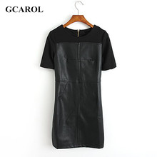 GCAROL Women New Arrival Faux Leather Spliced Dresses Stretch Sexy Mini Bodycon Dresses Girl's Club Slim Trendy Dress