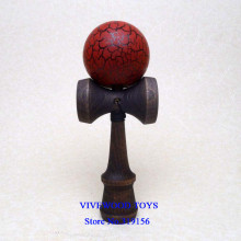 Wine Red/Black Crackle Kendama ball with Black Stain Beech Classic Handle, 3.22US wholesale 18CM Kendama with the metal rivet