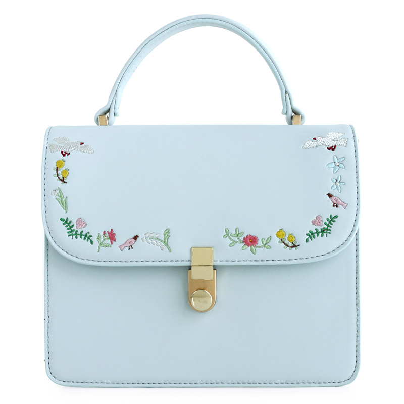 ENSSO New Arrival Fresh Metal Floral Flower Lady Embroidery Rose Chain Leather PU Womens Shoulder Messenger Crossbody Bag Flap<br>