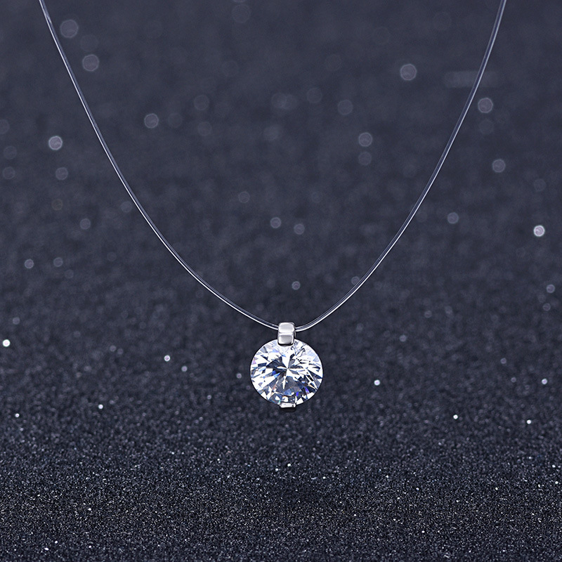 Summer 925 Silver Stereo Transparent fishing line stealth necklace Snowball Crystal From Austrian Locks Chain Valentine Gift