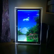 Super slim acrylic photo frame led edge-lit light box letters a3 crystal pictuer frame illuminated signs
