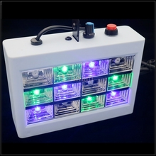 New 12 LED Sound Actived Strobe Light RGB/White Color Flash Light Stroboscope Disco for Club Party Stage Lighting Effect