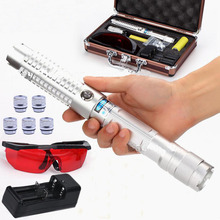 New arrival Silver 450nm 500000mw/500W high power focusable blue laser pointer flashlight burning match/paper/dry wood+glasses