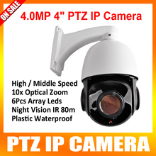 4 Inch High Speed Dome IP Camera 4MP PTZ Mini 4.0MP 10X Optical Zoom Camera Outdoor IR Leds 60M &Dayvision 500m Onvif
