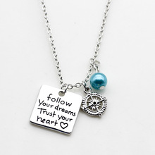 Follow Your Dream Trust Your Heart Engraved With Compass Positive Pendant Necklace Women Girls Gift Necklace Jewelry