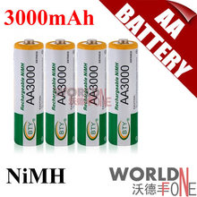 BTY 3000 AA Battery Ni-MH 1.2V Rechargeable Battery for LED Flashlight/Toy/PDA - B 200PCS/Lot(China)