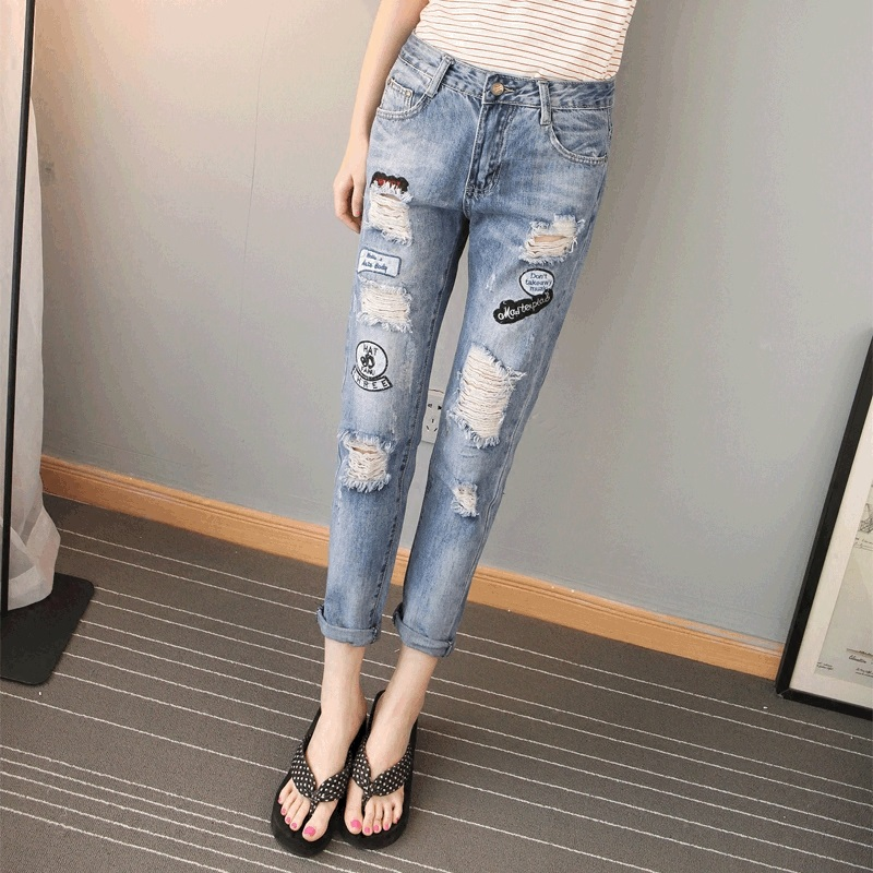 Ligtht bule plus size jean pants soft fabric pencil hole jeans herren women ripped pocket women summer casual denim for ladyОдежда и ак�е��уары<br><br><br>Aliexpress