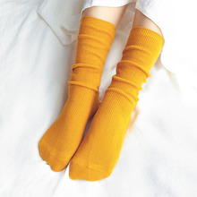 CHAOZHU Japanese High School Girls High Socks Loose Solid Colors Double Needles Knitting Cotton Long Socks Women(China)