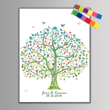 Wedding Guest Book Fingerprint Tree DIY Tree Painting Canvas Ink Pad Celebrate Gifts Decoration Engagement Party &2 set Inkpads