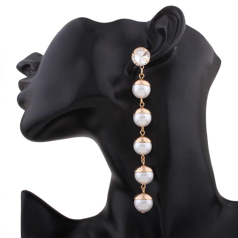 Simulated Pearl Beads Long Drop Earrings*