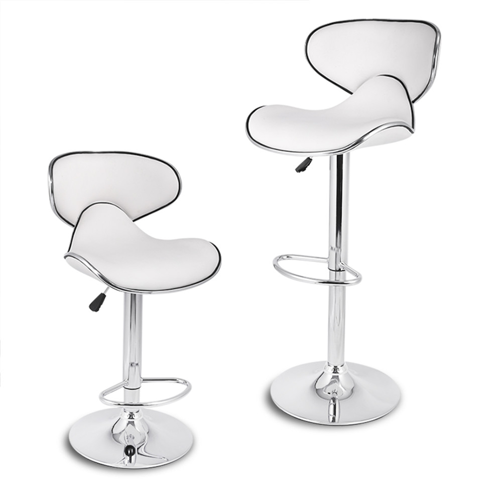 LANGRIA Set of 2 Gas Lift Height Adjustable Swivel Faux Leather Wrap-Around Bar Stools Chairs with Chromed Base and Footrest 25