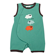 2017 Newborn Infant Baby Romper Clothes Boy Girl Rompers 100% Cotton Short Sleeve Romper Jumpsuits Clothing Sheep Green(China)