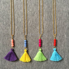 N15052004 Boho Necklce Colorful Small Tassel Necklace Beads Bar Ball Chain Necklace Random Colors(China)