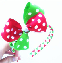 100pcs  DHL Free shipping  Red White and Lime Green Polka Dot Flower Hairclip with 1.5cm ABS Ribbon Woven headband