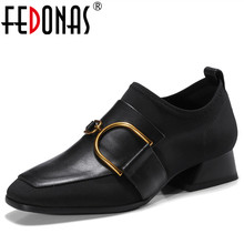 Buy FEDONAS 2018 New Women Thick High Heels Pumps Genuine Leather Shoes Woman Ladies Black Sexy Chaussure Femal Buckles Punk Pumps for $46.80 in AliExpress store