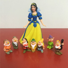 Newest 8pcs/set 4-15cm Lovely Seven Dwarfs and Princess Snow White Action Figure Toys Landscape Decor Birthday Gift for Children(China)