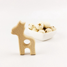 Natural Wooden Giraffe 10pcs wooden Teether BPA Free Food Grade DIY Crafts Pandent Accessory Baby Play Gym Toddler Toys