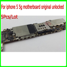 100% Good Working & Free Shipping 16GB Unlocked for iphone 5 5g Mainboard Original,for iphone Motherboard with Chips & 5Pcs/Lot(China)