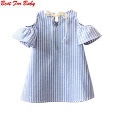 Summer Style Lovely Baby Girls off shoulder Dress blue Striped Dresses Infantil Vestidos Sundress(China)