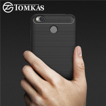 TOMKAS Xiaomi Redmi 4X Case Luxury Slim Soft Silicone Case For Xiaomi Redmi 4X Brushed Carbon Fiber Phone Cover For Redmi 4X