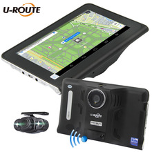 "Wifi Android 4.4 Vehicle Car DVR Camera GPS Navigation Radar Detector DashCam Dual Cameras 16GB ROM 7"" Screen Full HD1080P FM"