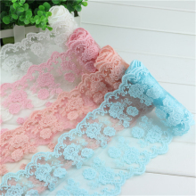 width 60mm hot 5yards  4color embroidered net lace trim garment ribbon headband DIY accessories pattern 2