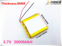 Free shipping 3.7 V 805060 lithium-ion polymer battery 3000 mah vehicle traveling data recorder LED speakers toys