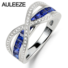 Luxury Real Diamond Princess Cut Sapphire 14K White Gold Nutural Diamond Wedding Rings For Women Christmas Gifts Fine Jewelry(China)