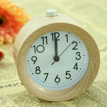 LED Wooden Alarm Clocks Round Electronic Digital Desk Clock Home Office Snooze Backlight Desktop Table Clock(China)