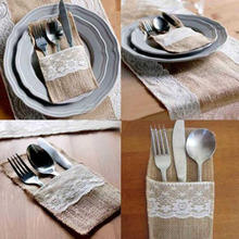 "2016 New  Fine 10 Vintage 4""x8"" Hessian Burlap Lace Wedding Tableware Pouch Cutlery Holder"