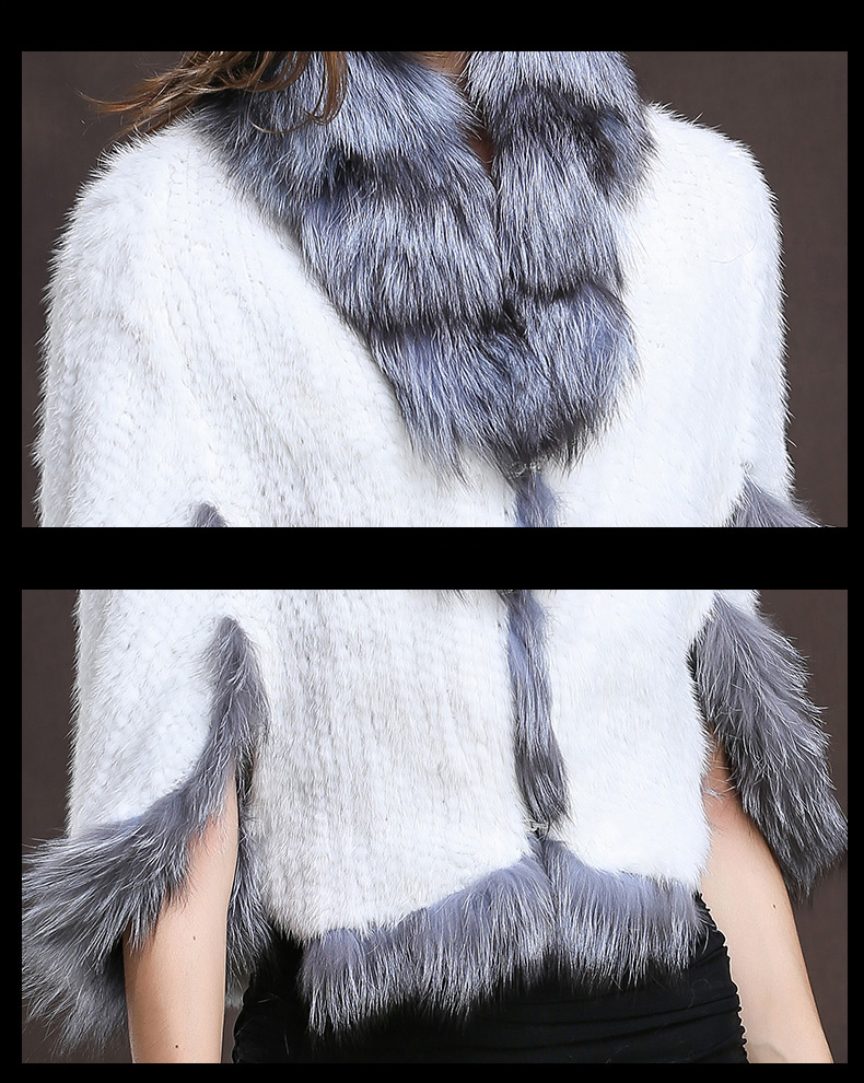 Winter Shawl Wrap Poncho Real Knit Mink Fur shawl With Fox Trimming Real fur Jacket coats party 2017 new (35)