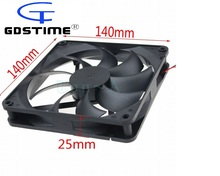 Gdstime 1 Piece DC 12V 2Pin 140mmx140mmx25mm 14025 CPU Computer Case Cooling Fan 14cm PC Cooler Free shipping(China)