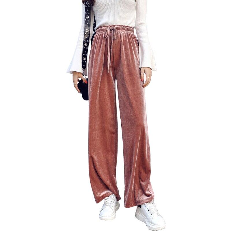 309e4b1bb8b Comfy Velvet Wide Leg Pants Women Drawstring High Waist Big Plus Size Loose  Velour Trousers Famale Autumn Winter 2018 New Pant