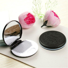 Cute Chocolate Cookie Shaped Design Makeup Mirror with Comb Lady Women Makeup Tool Pocket Mirror Home Office Use  F830