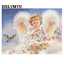 FULL 3d diamond embroidery mosaic diy diamond painting cross stitch needlework lovely angel girl wearing princess dress