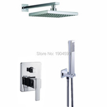 2017 Wholesale In Wall Built Simple 8 inch Bathroom Shower Sets with handshower Combination