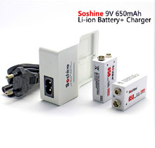 Soshine 9V battery quick charger Rapid Charger + 2 pieces Soshine 650 mah 9V lithium-ion rechargeable battery