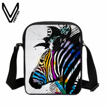 VEEVANV Casual Men Messenger Bag 3D Zebra Printing Handbags Boys Mini Purse Girls Crossbody Bag New Children School Shoulder Bag(China)